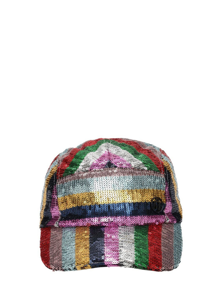 MAISON MICHEL Souna Striped Sequins Hat