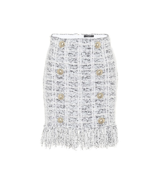 Balmain Tweed miniskirt in white