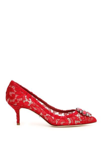 Dolce & Gabbana Lace Bellucci Pumps in red