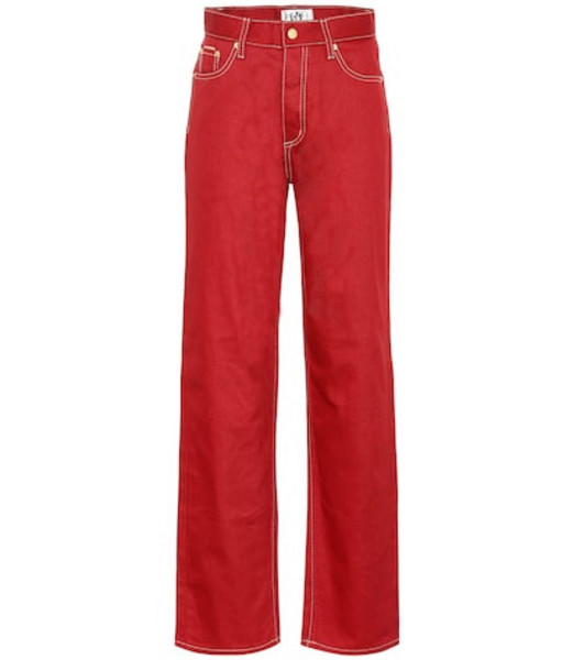 Eytys Benz Twill high-rise wide-leg jeans in red