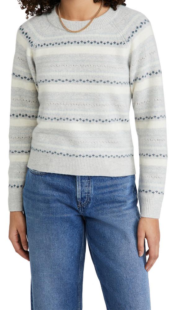 Club Monaco Boiled Cashmere Fair Isle Sweater in grey / multi