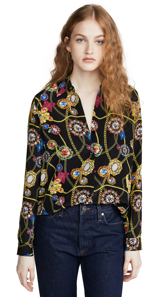 L'AGENCE Nina Long Sleeve Blouse in black / multi