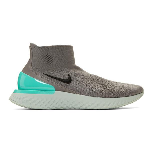 Nike Grey Flyknit Rise React Sneakers