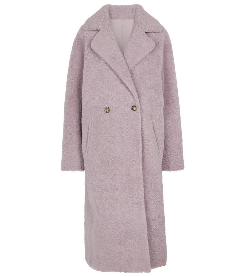 Yves Salomon Meteo shearling coat in purple