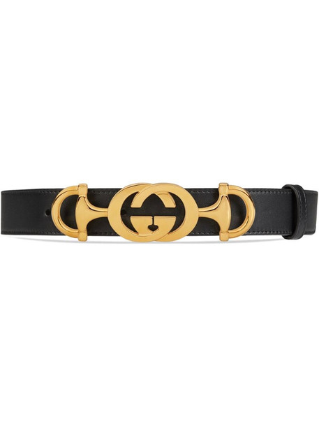 Gucci Leather belt with Interlocking G Horsebit in black