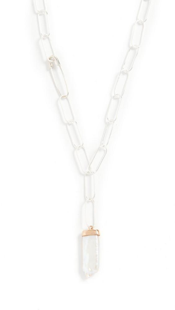 Loren Stewart Pearl Paleta Chain Necklace in silver