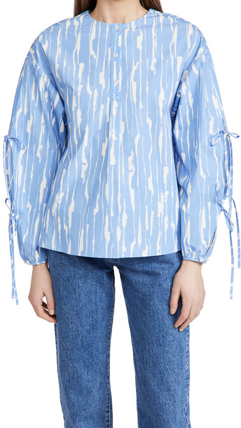 Jason Wu Long Sleeve Shirt With Tie Detail On Sleeve in blue