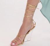 shoes,clear heel,block heel,gold,heels,gladiators,strappy heels,lace up heels,golden gladiator heels