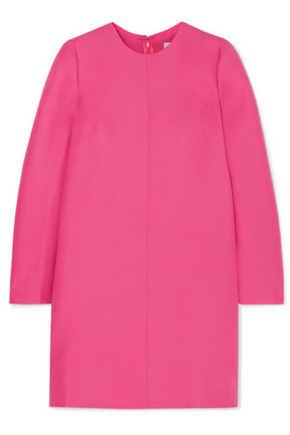 Valentino - Pleated Wool And Silk-blend Grain De Poudre Mini Dress - Pink