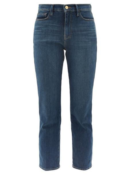 Frame - Le Sylvie Straight Leg Cropped Jeans - Womens - Dark Blue