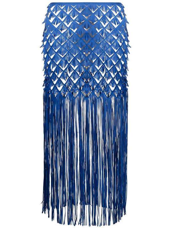 Paskal fringed straight skirt in blue