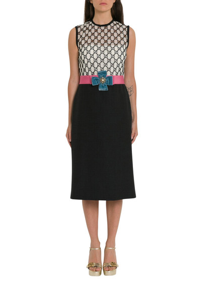 Gucci Gg Macramé Dress in nero