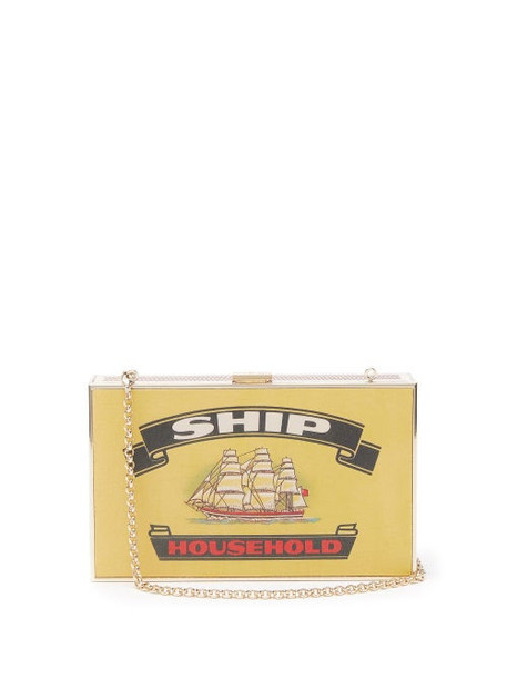 Anya Hindmarch - Imperial Ships Matchbox Print Leather Clutch - Womens - White Multi