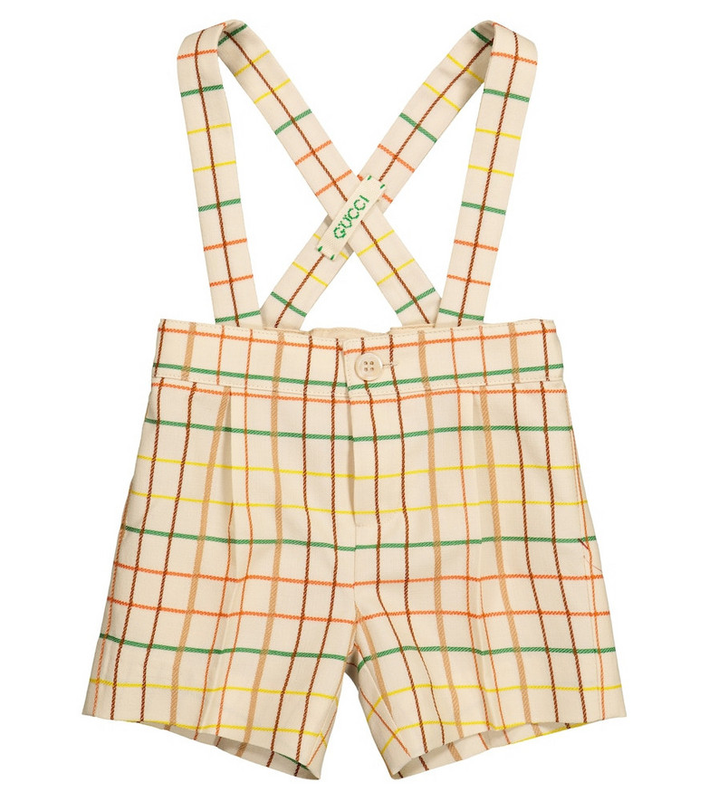 Gucci Kids Baby checked wool overalls in beige