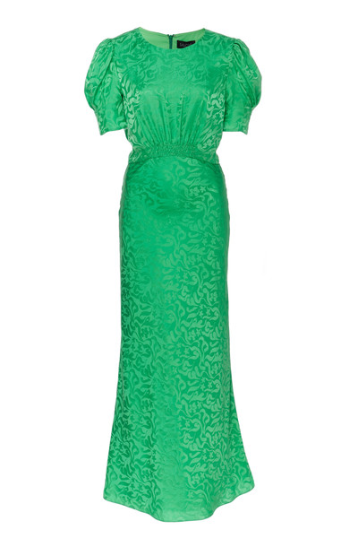 Saloni Bianca Puff-Sleeve Silk Dress in green