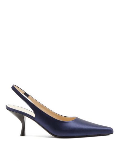 The Row - Bourgeoise Satin Slingback Pumps - Womens - Dark Blue