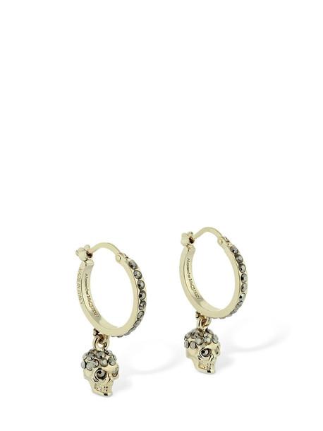 ALEXANDER MCQUEEN Crystal Skull Mini Earrings in gold