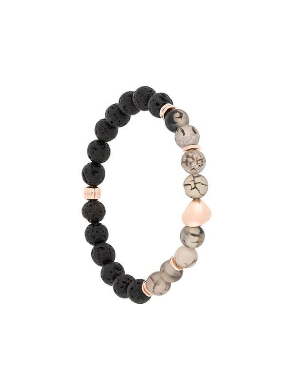 Tateossian Nugget beaded rose gold bracelet in black
