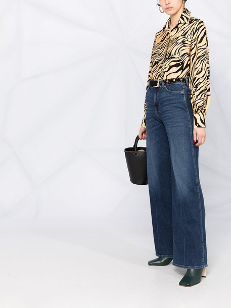7 For All Mankind high-rise flared jeans in blue