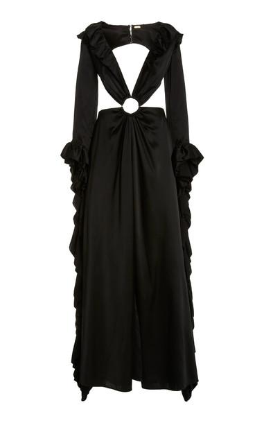 Cult Gaia Kaia Cutout Satin Gown in black