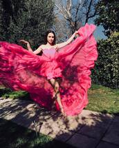 dress,heart,valentines day,lily collins,celebrity,instagram,tulle dress,gown
