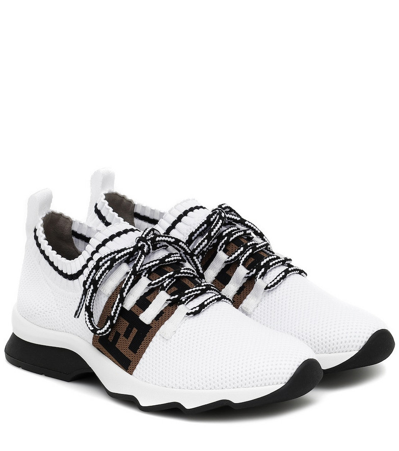 Fendi Rococo mesh knit sneakers in white