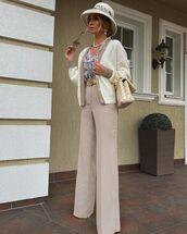 pants,wide-leg pants,plaid pants,cardigan,floral shirt,bag,hat