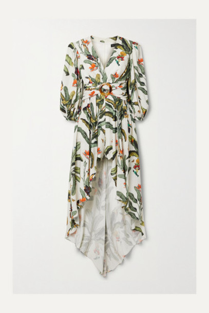 PatBO - Belted Layered Printed Voile Playsuit - Ecru