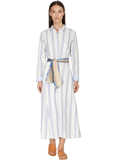 FORTE FORTE Striped Cotton Poplin Shirt Dress in blue / white