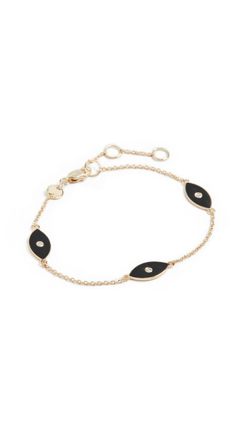 Jennifer Zeuner Jewelry Nazar Enamel Trio Bracelet in black / gold
