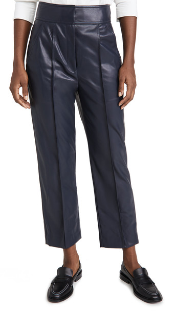 Rebecca Taylor Vegan Leather Stovepipe Pants in navy