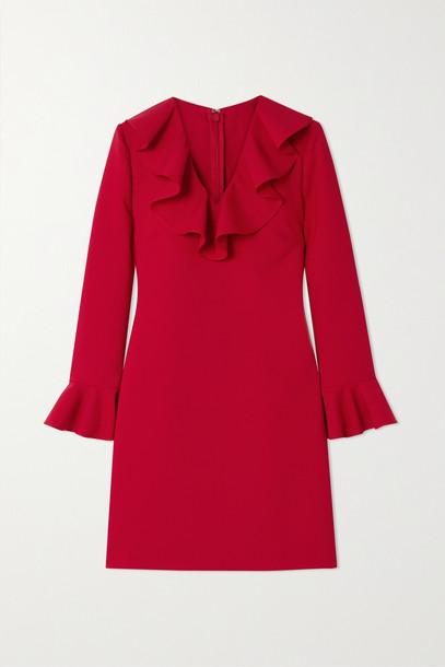 VALENTINO - Ruffled Wool-blend Crepe Mini Dress - Red