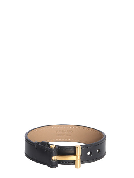 Tom Ford Leather Bracelet in nero