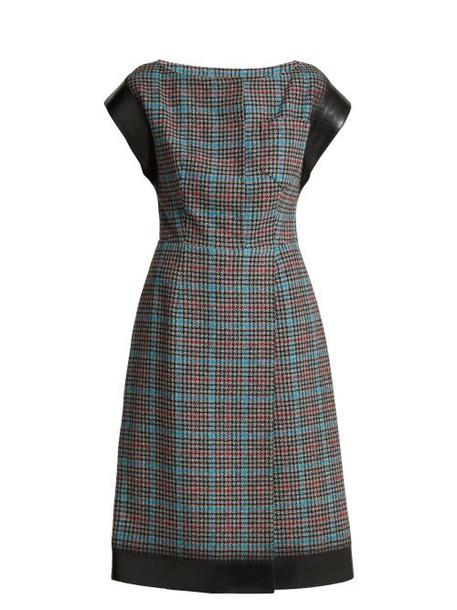 Prada - Houndstooth Wool Blend Dress - Womens - Blue Multi