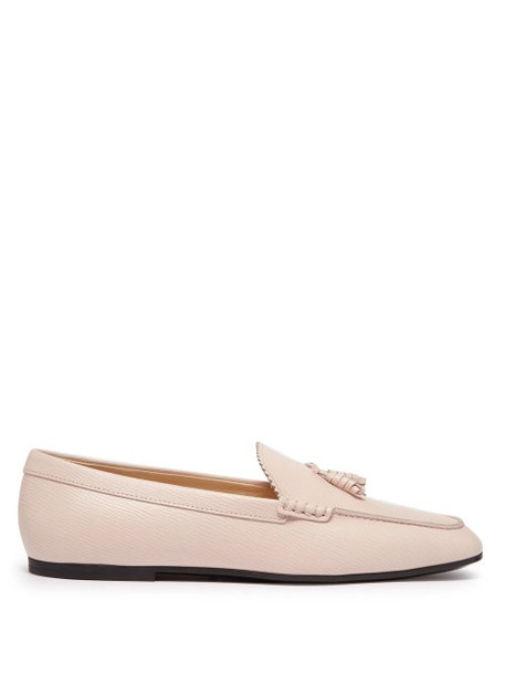 Tod's - Tassel Front Grained Leather Loafers - Womens - Light Pink