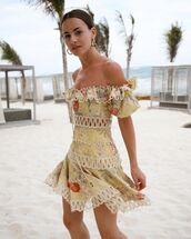dress,mini dress,floral dress,off the shoulder dress,zimmermann,summer dress
