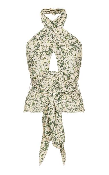 Nanushka Kara Silk Halter Wrap Top Size: S in print