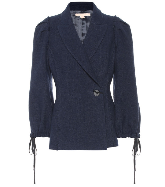 Brock Collection Pandolfi wool and linen jacket in blue
