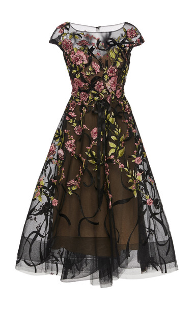 Marchesa Floral-Embroidered Organza Tea-Length Dress in black