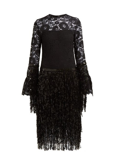 Romance Was Born - Disco Dame Sequin And Lace Dress - Womens - Black