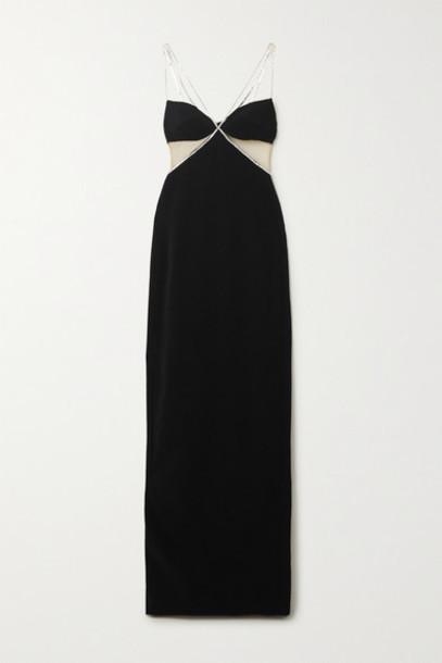 David Koma - Crystal-embellished Tulle-paneled Crepe Gown - Black