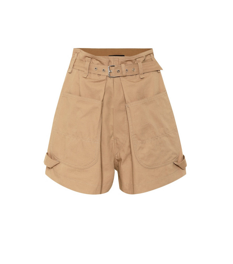 Isabel Marant Ike high-rise cotton shorts in brown