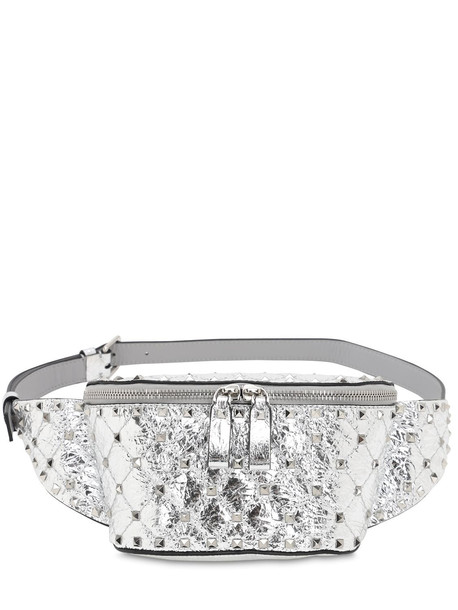 VALENTINO GARAVANI Small Spike Laminated Leather Belt Bag in silver