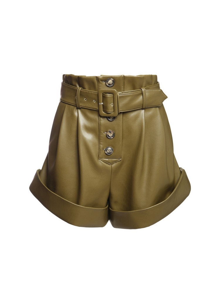 SELF-PORTRAIT High Waist Faux Leather Shorts in green