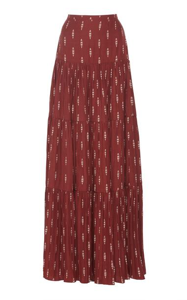 Johanna Ortiz Relatos De Mi Tierra Pleated Jacquard Maxi Skirt in red