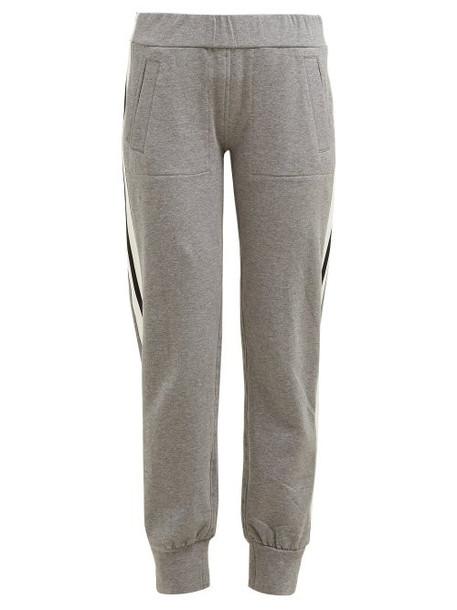 Norma Kamali - Side Striped Stretch Cotton Track Pants - Womens - Grey