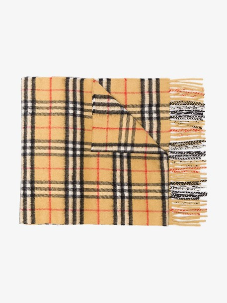 Burberry cashmere classic vintage check scarf in brown