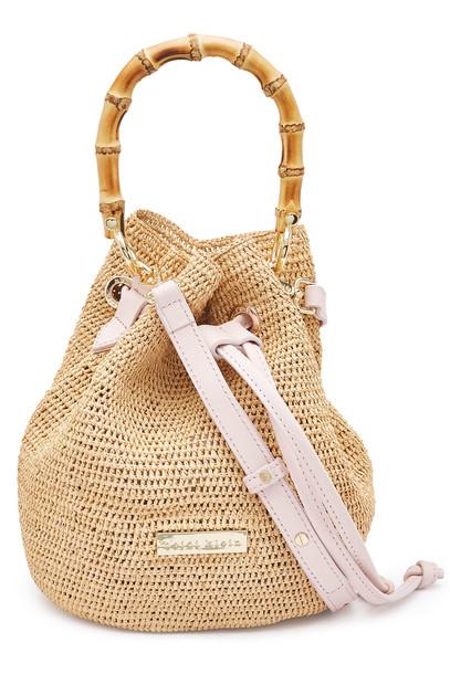 Heidi Klein Straw Handbag with Bamboo  in beige