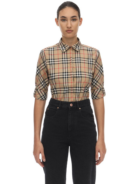 BURBERRY Checked Stretch Cotton Blend Shirt in beige