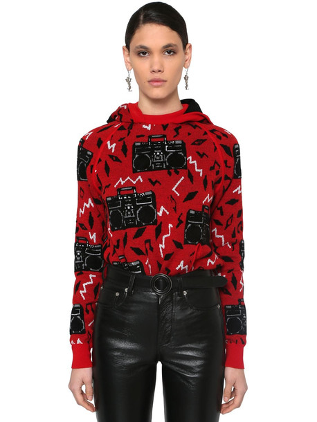 SAINT LAURENT Radio Intarsia Hooded Wool Blend Sweater in red / multi